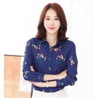 新款长袖雪纺上衣女韩版小碎花衬衫妈妈装打底衬衣户外新品网红同款