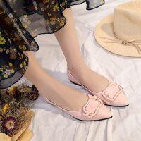 休闲鞋女平底尖头纯色软底时尚韩版浅口单鞋懒人鞋一脚蹬