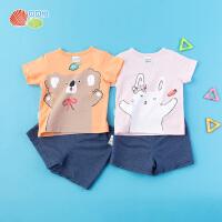 【2件3折】贝贝怡宝宝短袖套装夏季新款男女童纯棉上衣短裤2件装192T337