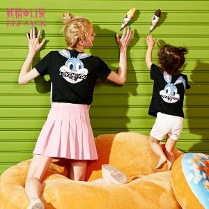 妖精的口袋小兔耳朵夏装新款亲子装宽松卡通纯棉短袖T恤女