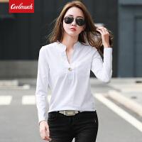 【新春惊喜价】Coolmuch女士修身V领纯色长袖T恤打底衫JW9053