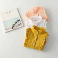 童装女童衬衫长袖白色花边立领打底儿童衬衣开衫