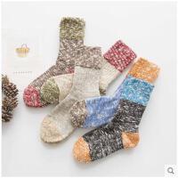冬季袜子女加厚女袜秋冬款纯色棉袜睡眠袜日系毛线袜中筒袜堆堆袜