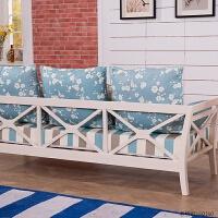地中海韩式田园布艺沙发 小户型美式简约实木客厅组合三人布沙发 张