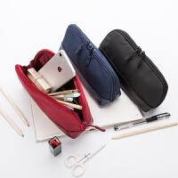 纯色良品简约笔袋帆布男女韩国文具袋初中学生小清新大容量铅笔盒