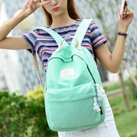 日韩学院风学生书包新款韩版纯色帆布双肩背包休闲旅行电脑包