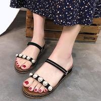 凉鞋 女士圆头珍珠坡跟两穿凉鞋2019夏季新款韩版时尚女式休闲洋气凉拖女鞋沙滩鞋