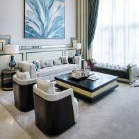 现代意式轻奢布艺沙发美式样板间家具后现代简约别墅客厅家具会所 其他