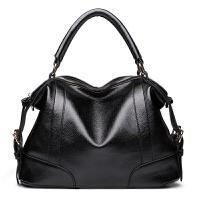 欧美真皮女包大包手提包2018新款软皮时尚妈妈包女士单肩斜挎包潮 黑色 收藏加购送小香包