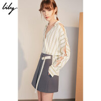 【超品日2折价119.8元】Lily春新款女装时髦条纹交叉绑带宽松长袖衬衫118310C8658