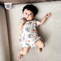 童婴儿童连体衣服宝宝新生儿季0岁1个月装短袖哈衣新年
