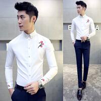 气质春秋男士发型师衬衫新款修身白色玫瑰花刺绣长袖衬衣青年男衬