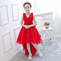 儿童礼服女童公主裙花童生日蓬蓬裙大童钢琴主持人红色拖尾演出服