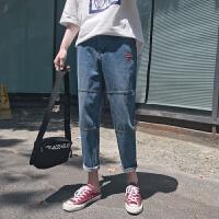 夏季新款男士港风潮流贴标哈伦九分裤简约百搭休闲牛仔裤