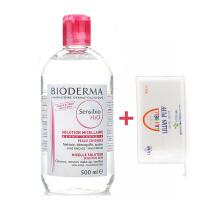 贝德玛(BIODERMA)舒妍洁肤液卸妆水500ml粉水送丽丽贝尔卸妆棉50片装