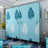 开门式简易布衣柜钢管加粗加固全钢架加厚租房衣柜家用布艺牛津布 A190款 蔓叶