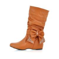 ELEISE美国艾蕾莎新品秋冬189-608韩版超纤皮内增高女士短靴