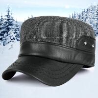 帽子男士秋冬季保暖护耳中老年户外休闲帽运动军帽毛呢平顶帽
