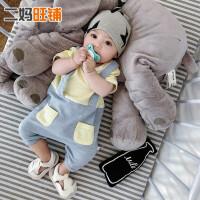初生儿休闲时尚爬爬服6-9-12个月宝宝竹节吸汗哈衣婴儿连体衣短爬