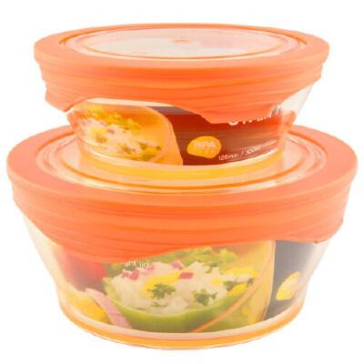 360°硅胶盖 鲜乐仕保鲜盒2件套(4P)SK-0402 热情橙