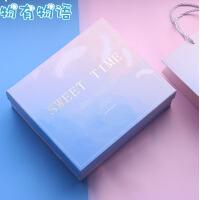 礼品盒 大号创意包装盒子化妆品收纳盒生日礼物女生少女心小清新正方形伴手礼盒 +填充物+明星片
