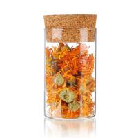 糖果储物罐300ML环保茶包装 软木塞玻璃密封罐 直筒 茶叶罐 玻璃瓶