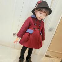 冬季婴幼儿宝宝双层夹棉外套上衣加长款双排扣呢大衣冬款