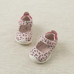 davebella戴维贝拉秋季女童粉色豹纹时尚皮鞋 宝宝鞋DB5586