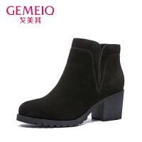 【到手129】【真皮】戈美其冬季新款时装靴子牛反绒圆头套脚女鞋粗跟短靴真皮高跟鞋子