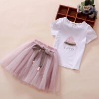 童装女童套装裙子夏装韩版洋气棉短袖中大童小女孩衣服两件套潮
