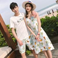 花边短袖情侣装夏装上衣女裙子套装男T恤沙滩海边2018新款潮