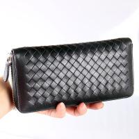 新款 潮流经典编织纹羊皮女士钱包拉链手包女式长款钱包潮女钱包 黑色