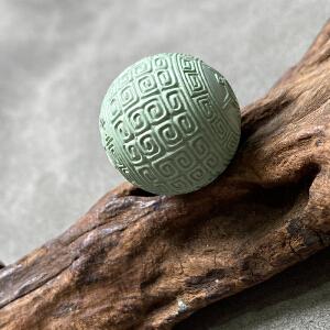 S1142近代《原矿绿松石回纹珠》(湖北原矿高瓷绿松石回纹珠,纯手工雕刻,无铁线,盘玩变色快,精品)