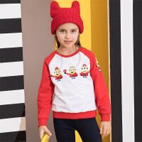 【3件6折】【小黄人IP款】小猪班纳童装卫衣女童2019新款潮儿童长袖卡通T恤