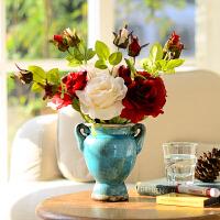 奇居良品 欧式客厅仿真花艺整体套装摆件 马特花瓶配玫瑰花