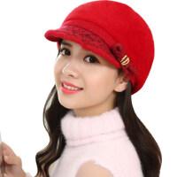 可爱学生加绒加厚女士帽子时尚百搭户外街头保暖贝雷帽