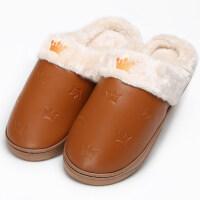 2016新款冬季新款皇冠棉拖鞋女PU皮防水男居家木地板保暖棉拖鞋 42/43适合41-42穿