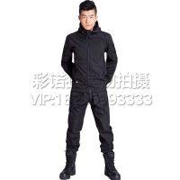 户外登山运动 男款黑色冲锋衣 保暖迷彩内胆连帽抓绒 防风防水M65迷彩风衣外套军迷服饰