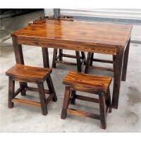 碳化防腐桌椅户外家具小户型实木快餐桌饭店仿古桌椅套件组合 单个马凳