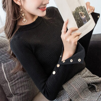 毛衣女2018秋冬装新款韩版修身上衣黑色针织衫百搭套头长袖打底衫