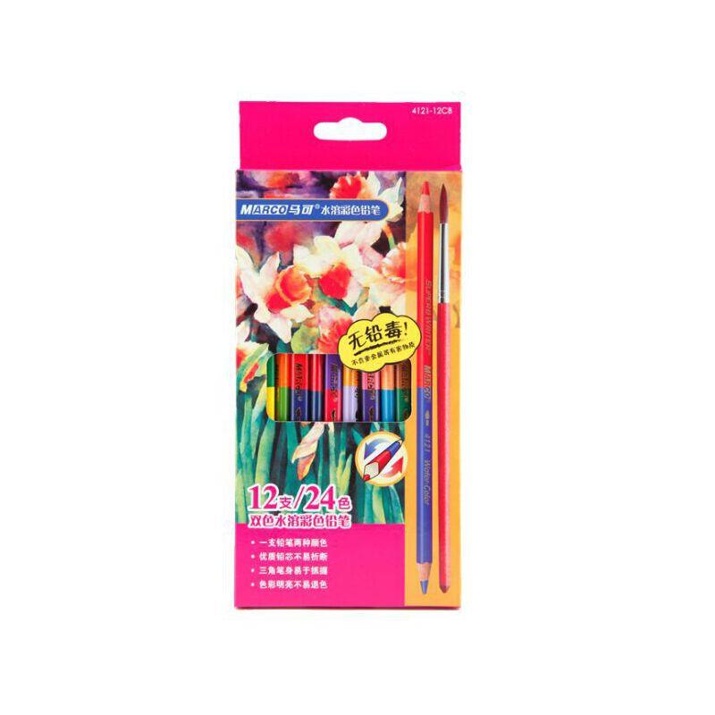 马可4121-12CB 双色水溶彩色铅笔 三角铅笔 双色铅笔 24色 12支 全场满50元包邮,新疆西藏除外