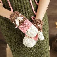 可爱拼色撞色针织全指包指蝴蝶结挂脖手套毛线手套女加绒加厚