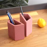 创意学生笔筒陶土文具收纳筒办公桌面书靠装饰个性收纳盒时尚可爱
