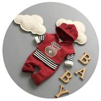 婴儿套装冬季0-1岁男童马甲三件套3-6个月宝宝衣服抓绒加厚分体潮