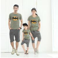 亲子装夏装潮短袖全家装蝙蝠T恤母子母女套装
