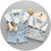 宝贝真乖 男小童领结印花衬衫两件套 韩版新品童套装 潮品热批