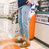 新款青年小脚牛仔裤男士大码多口袋九分裤子韩版潮流日系复古
