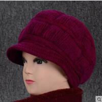 中老年人兔毛帽子女老人妈妈加厚针织毛线帽奶奶保暖女士帽