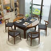 新中式大理石餐桌椅火锅电磁炉折叠餐桌橡胶木火烧石伸缩餐桌餐椅