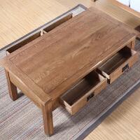 欧式实木家具客厅简约咖啡桌橡木古琴桌子现代简易方形抽屉小茶几 1.3米加隔板原木色 1300*700*450mm 整装
